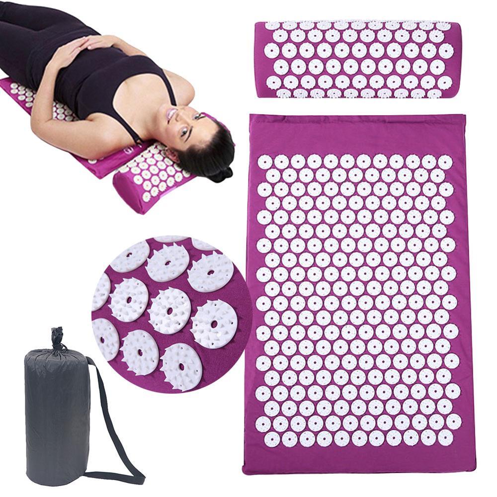 66*42cm masseur coussin de Massage tapis d'acupression soulager la douleur du dos du corps pic Mat d'acupuncture Massage tapis de Yoga avec oreiller