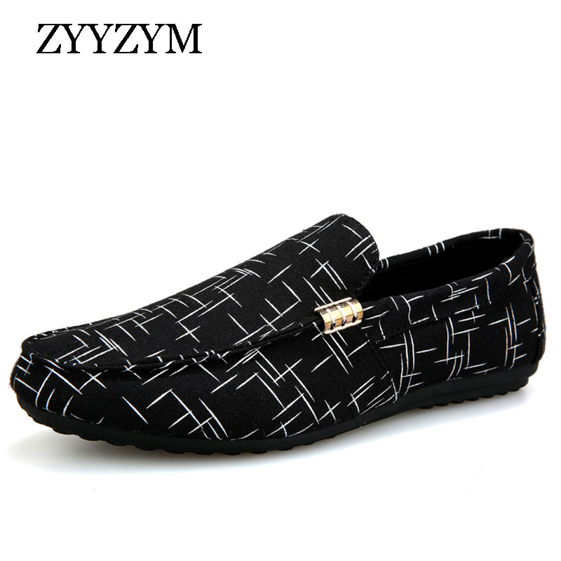 ZYYZYM Youth Shoes Flat-Footwear Men Loafers Spring Canvas Breathable Fashion Summer