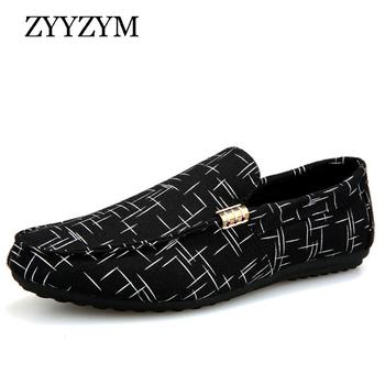 ZYYZYM męskie mokasyny 2019 wiosenne letnie buty męskie obuwie lekkie płótno młodzieżowe buty męskie oddychające modne płaskie obuwie tanie i dobre opinie Przypadkowi buty RUBBER Slip-on Pasuje prawda na wymiar weź swój normalny rozmiar Wiosna jesień Geometryczne Dla dorosłych