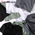 SuyaDream Mens Solide T shirts Baumwolle und Seide mix Plain O neck Kurzarm Shirts 2021 Sommer Grundlegende Top