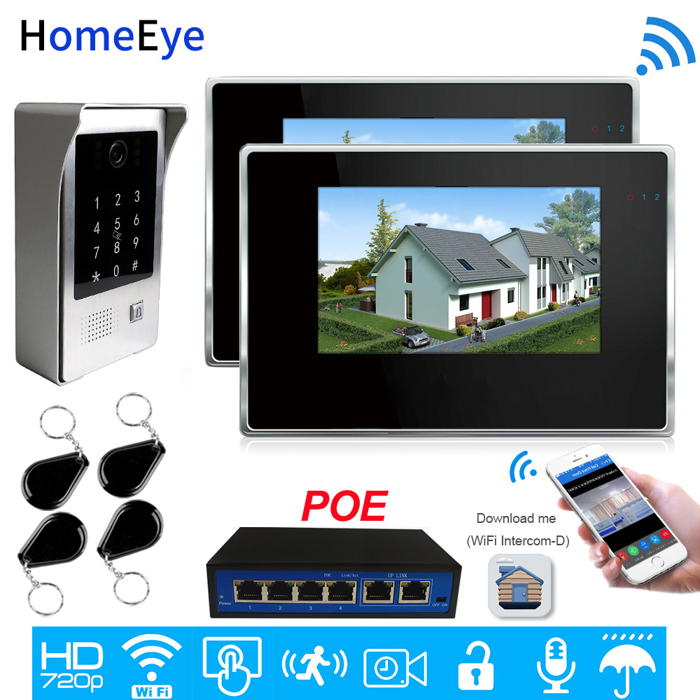IP Video Intercom POE System 720P Wifi Video Door Phone 7'' Touch Screen Mobile App Unlock Password/IC Card Access Control 1-2