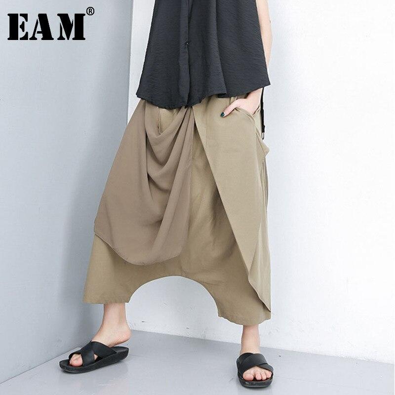 [EAM] 2020 New Spring Autumn High Elastic Waist Loose Black Chiffon Split Joint Harem Pants Women Trousers Fashion Tide JT174