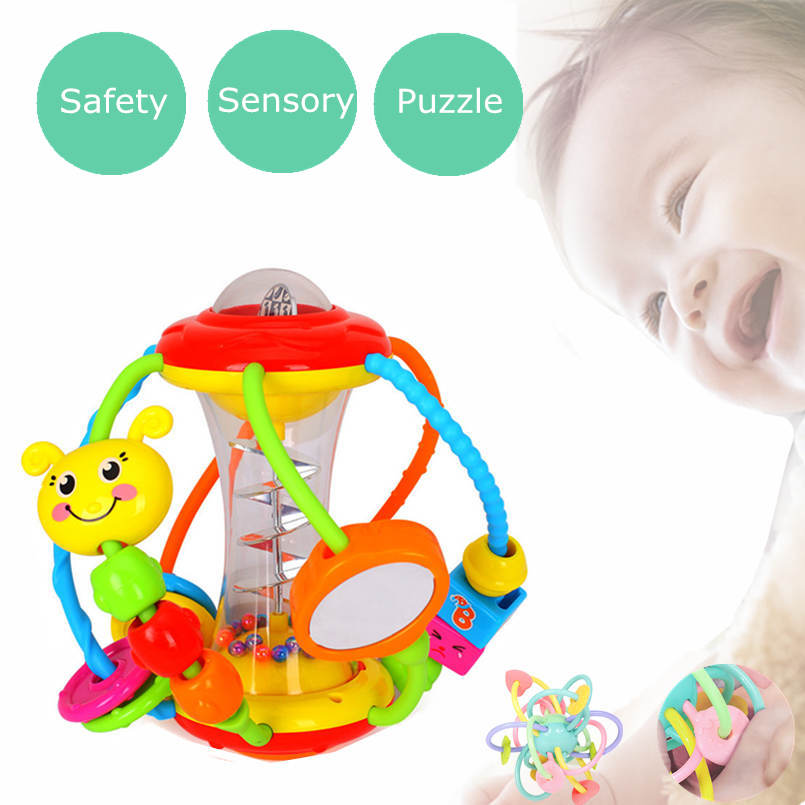 Early Educational Baby Toys 0-12 Month Puzzle Hand Catching Activity Ball Rattles Toys For Kid Girls Boys Children Hand Bell Toy