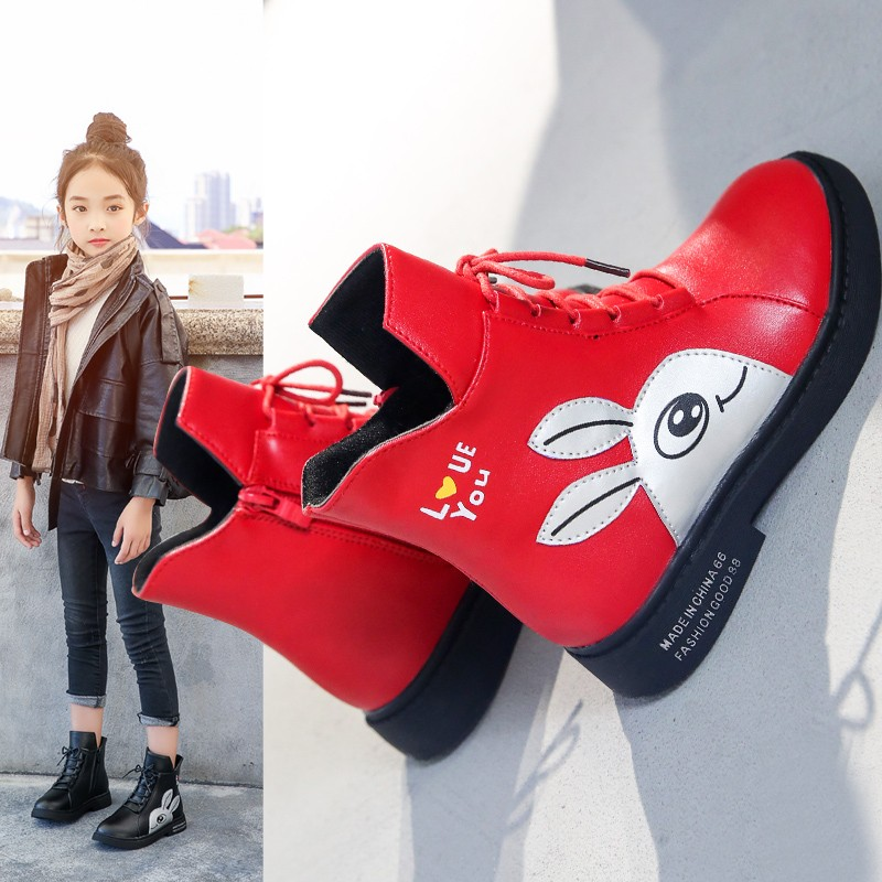 Image 2 - Winter Girls Boots 2019 New Spring British Fashion Girls Shoes Kids Cute Cartoon Leather Warm Plush Boots Litter Big Child BootBoots   -
