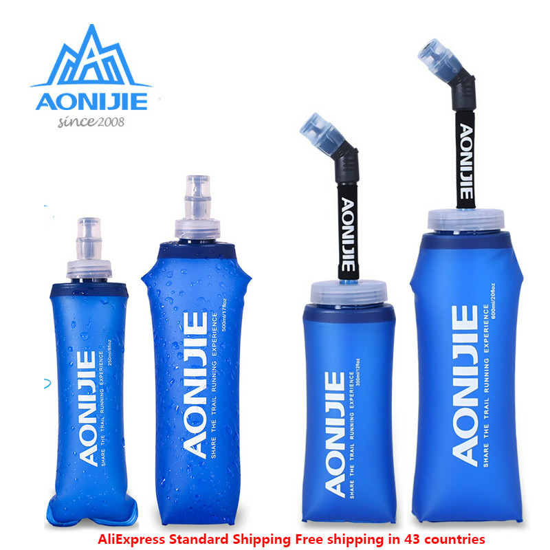 AONIJIE Foldable Silicone Soft Flask Water Bottles Outdoors Sport Traveling Running Kettle Hydration Pack Bag Vest 250ML- 600ML