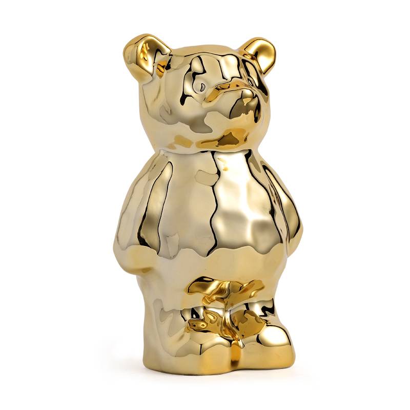 Art moderne abstrait placage ours tirelire Statue animaux ours Figurine céramique artisanat décoration de la maison R3593