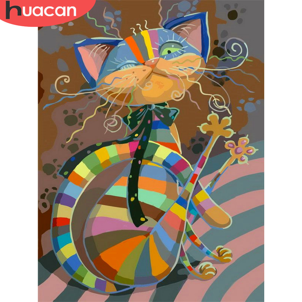 HUACAN Pictures By Numbers Cat Animals HandPainted Kits Drawing Canvas DIY Oil Painting By Numbers Cartoon Home Decor Gift