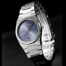 John Boss-Reloj de negocios de tungsteno ultradelgado para hombre, cronógrafo deportivo resistente al agua, diseño sencillo, con movimiento de zafiro, para parejas