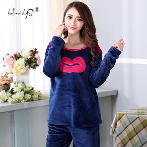 Image 3 - Đáng Yêu Môi Hoa Văn Dép Nỉ Bộ Đồ Ngủ Mùa Đông Dày Nữ Pyjamas Bộ Đồ Ngủ Bộ Đồ Ngủ Dễ Thương Pijama Quần Áo Mặc Ở Nhà Nữ Phù Hợp Với