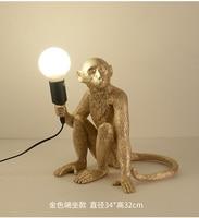 Resin Black White Gold Monkey Pendant Light For Living Room Lamps Decoration Maison Art Parlor Study Led lustre With E27 Bulb
