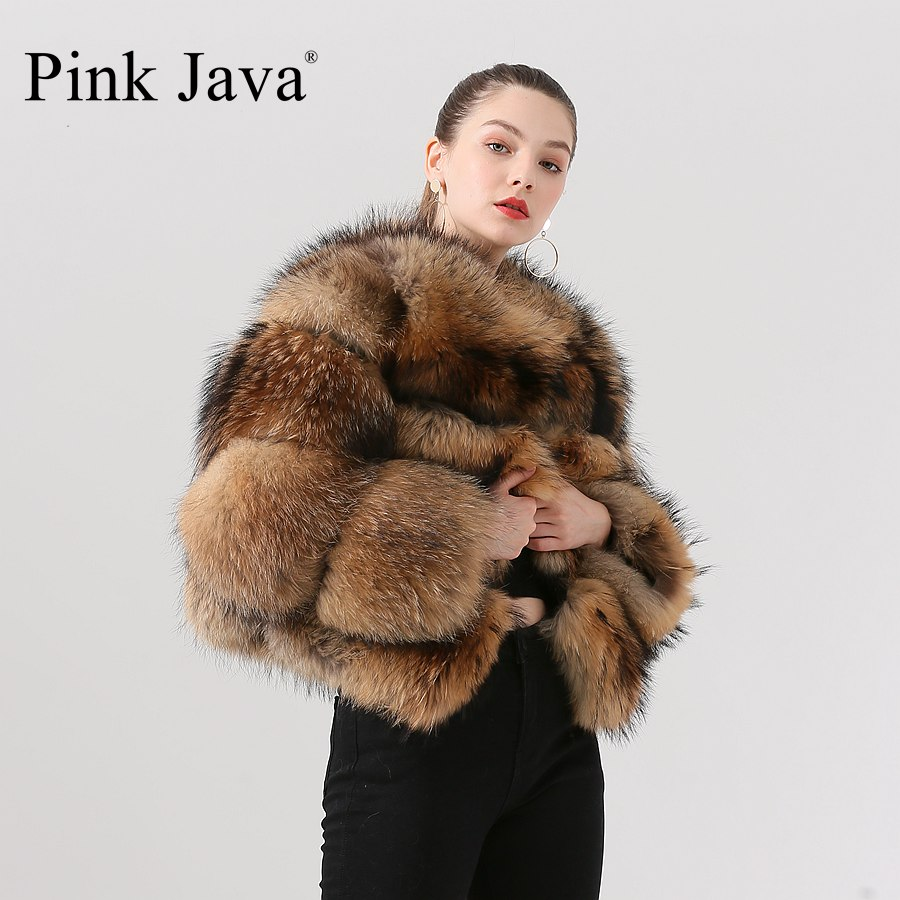 PINK JAVA QC1884 New Arrival Free Shipping Women Winter Real Raccoon Fur Coat Fluffy  Hot Sale Wholesale Fur Dress