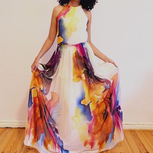 Image 5 - Dressv שמלת ערב סקופ צוואר קו אלגנטי ללא שרוולים באורך רצפת הדפסת מסיבת חתונה רשמי שמלת ערב שמלות