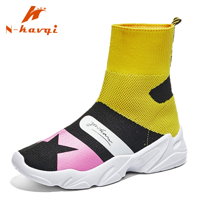NKAVQI Women Knit Upper Breathable Shoes Sock Boots Woman Chunky Shoes High Top Shoes Unisex Breathable Mesh Female Sneakers