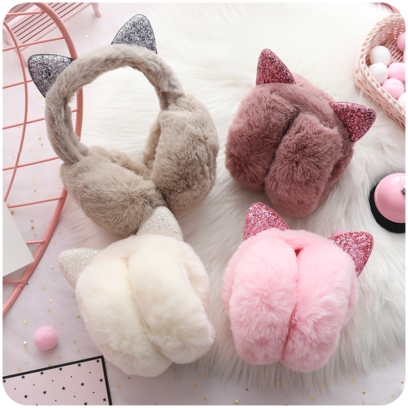 Earmuffs Womne New Korean Version Female Winter Lovely Rabbit Warm Womens Simple Solid Kawaii Accessories Solid Adjustable Chic