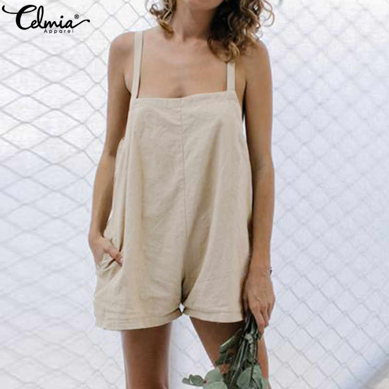 Celmia Vintage Short Rompers 여성 캐주얼 솔리드 점프 슈트 2020 Summer Beach 느슨한 민소매 Playsuits Oversized Overalls Femme