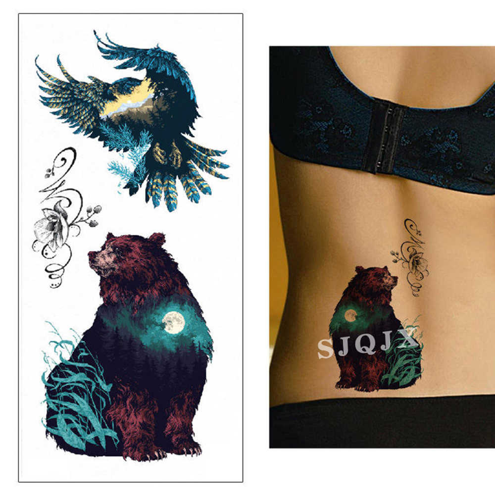 Hayvan geçici dövme çıkartmalar tilki kurt su geçirmez sahte dövme tatuaje 3d katil balina ayı kaplan yılan dövme vücut çıkartmalar