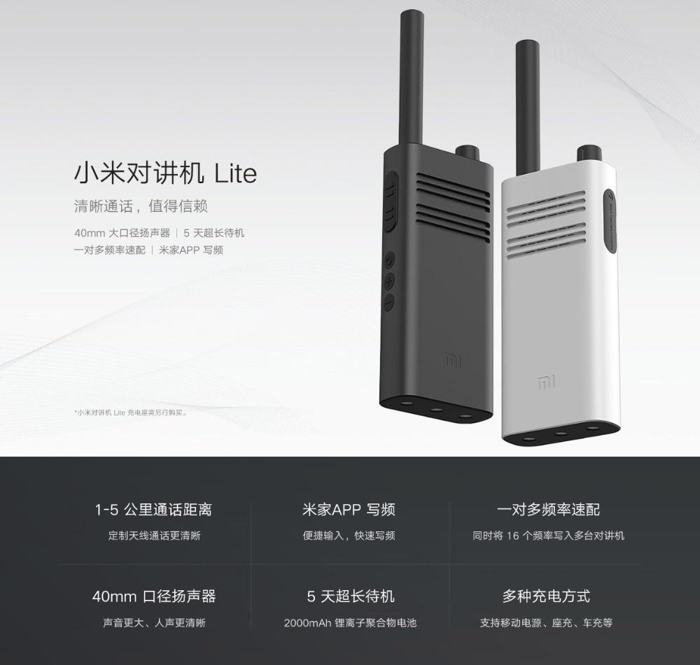 2020 New Xiaomi Mijia Walkie Talkie Lite Civil 5 Km Intercom Outdoor Handheld Mini Radio Talkie Walkie Work with mi home app (1)