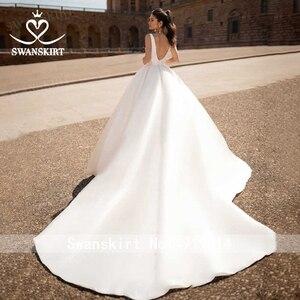 Image 2 - Fashion V neck Satin Wedding Dress 2020 Detachable 2 In 1 A Line Princess Swanskirt I216 Bridal Court Train Vestido de Noiva
