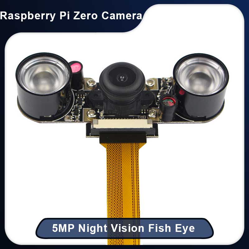 Raspberry Pi Zero Night Vision Camera + 2pcs IR LED 5MP Camera Module for Raspberry Zero Wide Angle Fish Eye Webcam