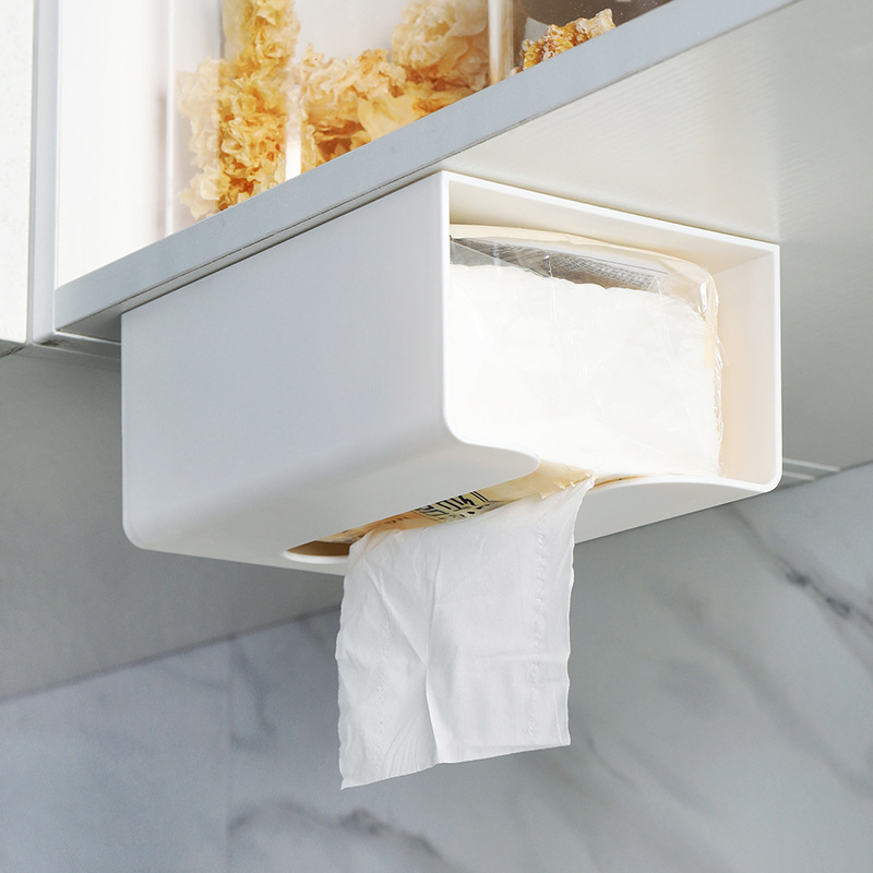 Kitchen Traceless Stick Paper Extraction Box Wall Hanging Tissue Holder Creative Minimalist Plastic Multi-functional Toilet Tiss