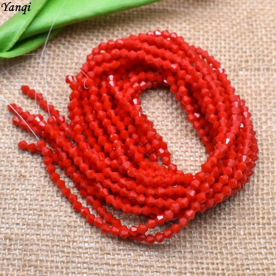 Красные 4 мм двухконусные бусины Rondell граненые хрустальные бусины двухконусные стеклянные бусины фарфоровые бусины для самостоятельного изготовления ювелирных изделий 115 шт - Цвет: 11-4mm