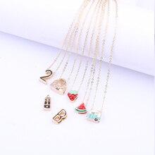 дропшиппинг Japan and South Korea Harajuku necklace street personality gold strawberry/watermelon/letter/car children