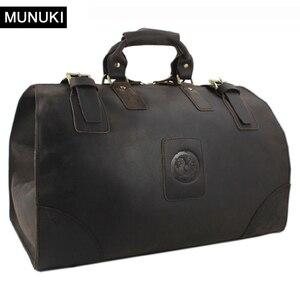 Винтажная сумка для багажа MUNUKI, Мужская Дорожная сумка из натуральной кожи, большая сумка для выходных