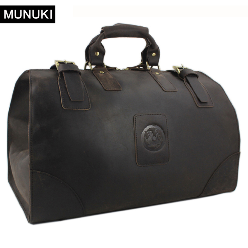 MUNUKI Vintage luggage bag Crazy Horse Genuine Leather Travel bag  men Leather duffle bag Large Weekend Bag Tote Big-in Travel Bags from Luggage & Bags