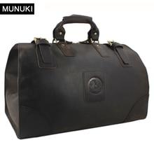 MUNUKI Vintage luggage bag Crazy Horse Genuine Leather Travel bag  men Leather duffle bag Large Weekend Bag Tote Big