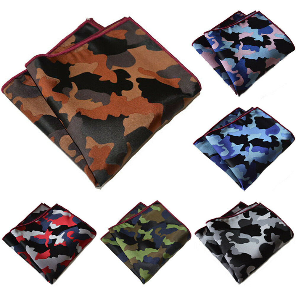 6 PCS Men's Handkerchief Camouflage Printed Hanky Wedding Party Pocket Square BWTYX0302A