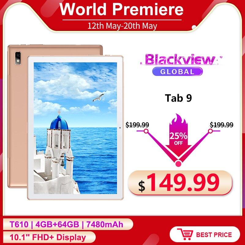 Blackview Tab 9 4G Телефонный звонок планшетный ПК с системой андроида и 10,0 4 Гб + 64 Гб 10,1 дюймов 1200*1920 13MP сзади Камера 7480 мА/ч, Планшеты чехол для телеф...