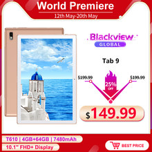 Blackview Tab 9 4G Phone Call Tablet PC Android 10.0 4GB+64GB 10.1inch 1200*1920 13MP Rear Camera 7480mAh Tablets Phone