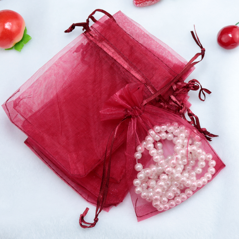 100pcs 15*20cm dark red jewelry gift <font><b>bag</b></font> organza <font><b>bags</b></font> <font><b>packaging</b></font> transparent party Drawable Wedding Pouches present jewel candy image