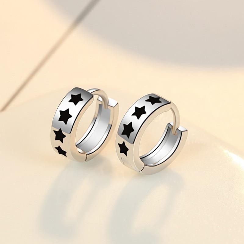 XIYANIKE 925 Sterling Silver nowy wielu czarny cyrkon gwiazda Hoop kolczyki kobiety moda gładka wspaniała biżuteria hurtowych prezent