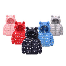 Baby Girls Jacket Autumn Winter cartoon ear For Coat Kids Warm Hooded Outerwear Boys Children
