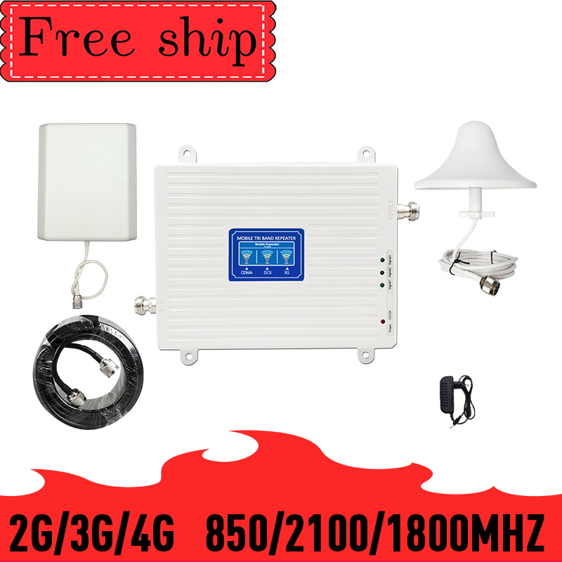 Tri Band 2g 3g 4g Signal Booster CDMA  WCDMA UMTS LTE Cellular Repeater Gain 70dB 23dBm 850/1800/2100mhz Amplifier