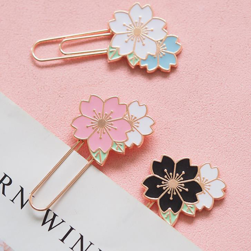 1 Pcs Cherry Blossoms Sakura Colorful Memo Paper Clips Metal Bookmark Page Holder Gift Stationery School Office Supply