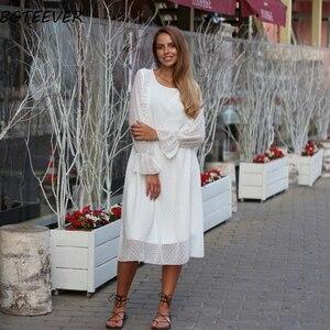 Image 5 - BGTEEVER ראפלס מנוקדת נשים שיפון שמלת אלסטי מותניים התלקחות שרוול נקבה ארוך Vestidos אונליין לבן שמלת 2019