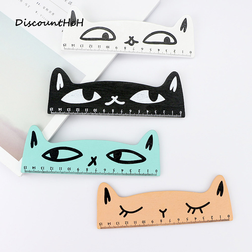 Colorful Cute Cat Wooden Ruler Measuring Straight Ruler Tool Promotional Gift Stationery School Supplies