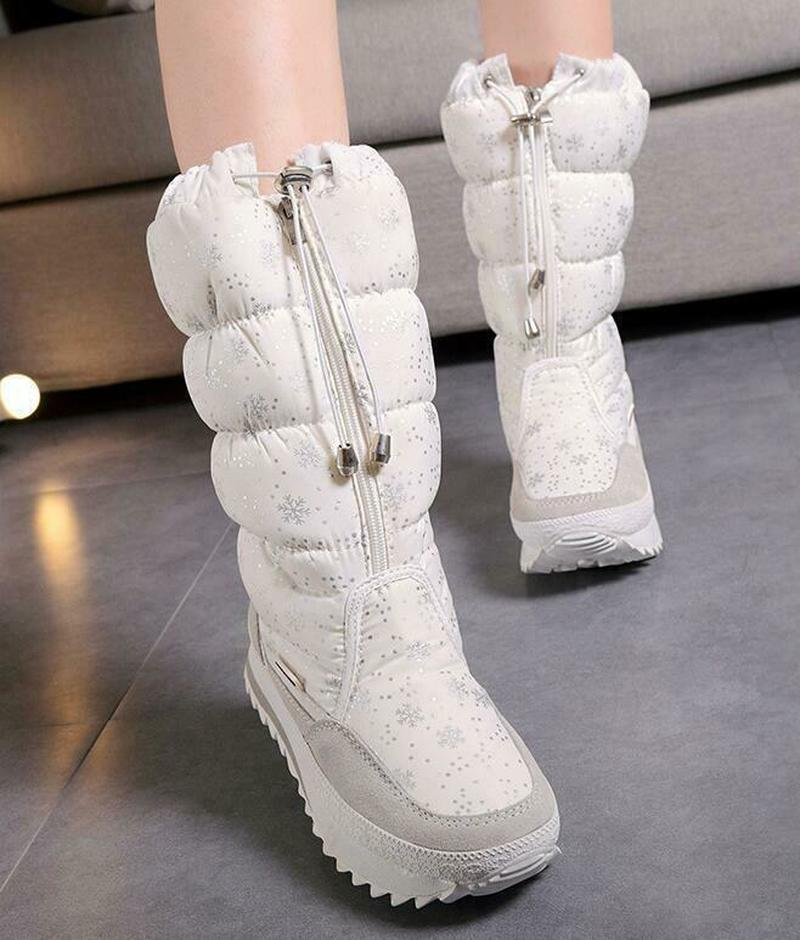 Femmes hiver mi-mollet bottes Top Pull sur imperméable en peluche neige chaussures flocon de neige imprimé épaissir chaud Zip à lacets 6Styles Plus Sz - 3