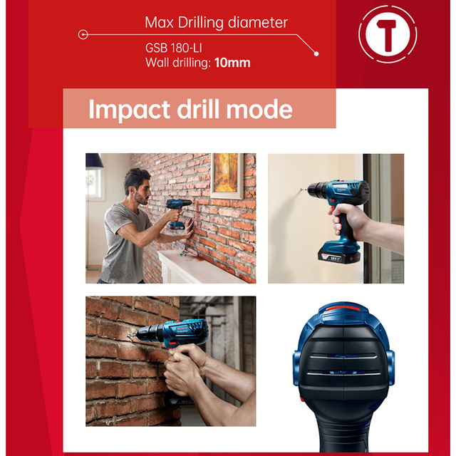 Bosch Cordless Electric Drill Driver 18V Max 50N.m Impact Driver LED light Drill Combo Kit for Drilling Wood Metal and Plastic 4