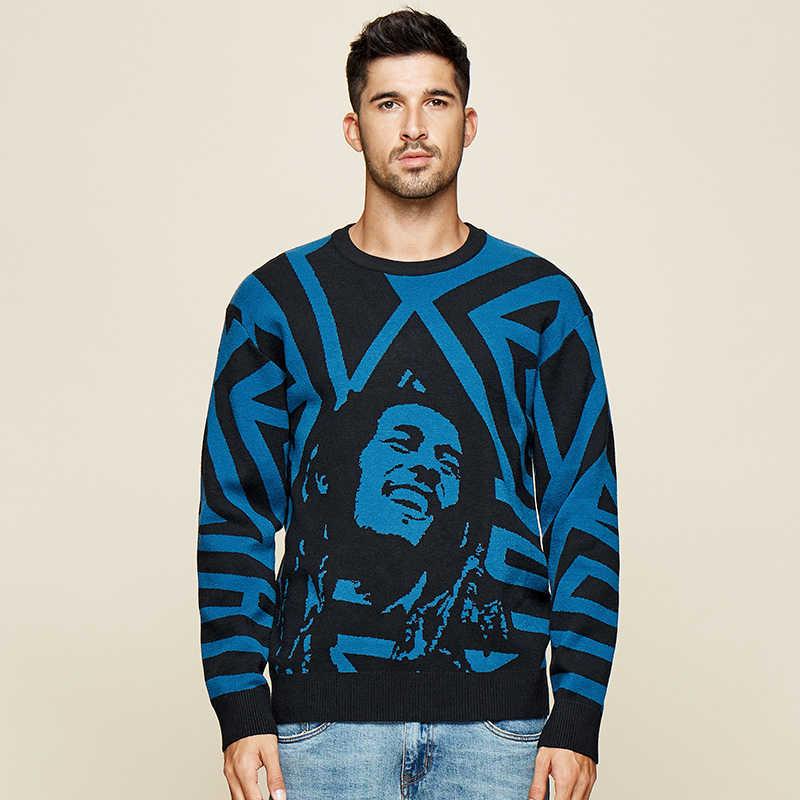 Kuegou 2019 Autumn Patchwork Karakter Sweater Pria Kasual Pullover Jumper untuk Pria Rajutan Gaya Korea Pakaian Plus Ukuran 1754