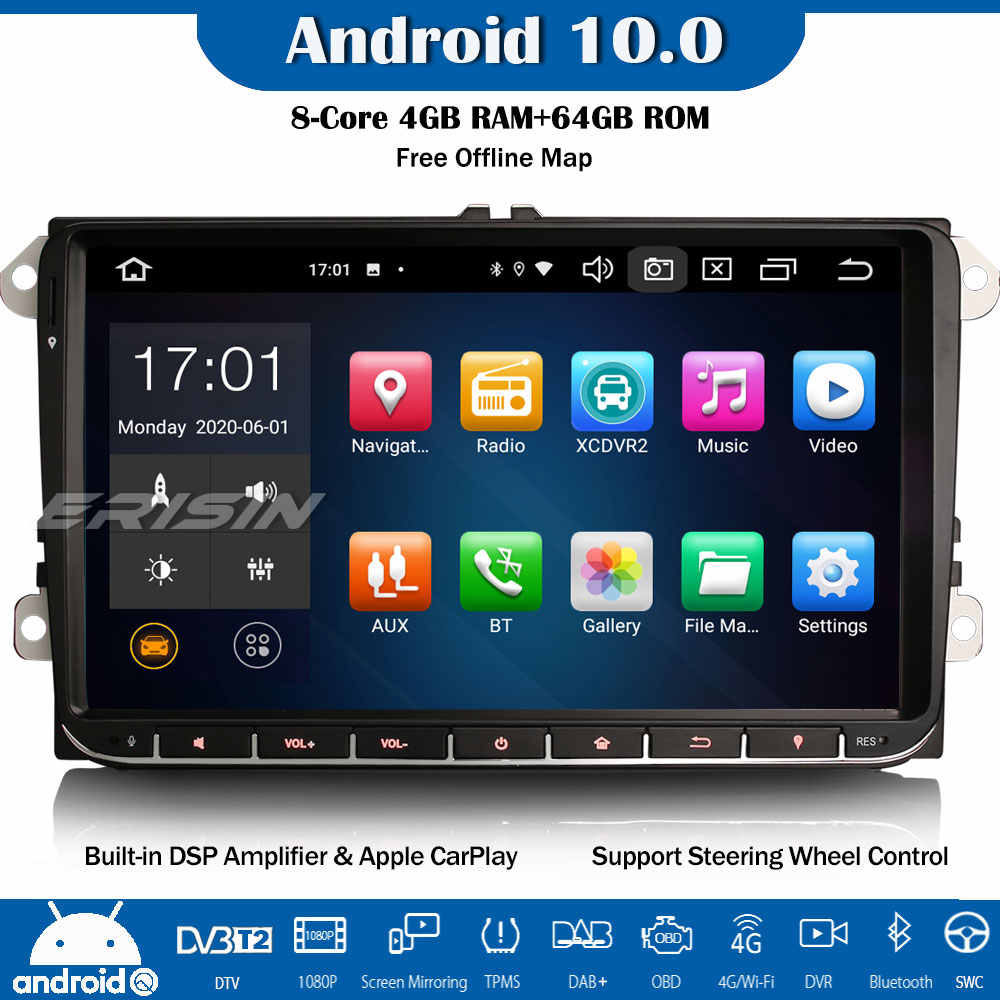 ES8128V 8-Core Android 10.0 DAB + WiFi CarPlay Bluetooth DSP GPS Mobil Stereo untuk VW EOS Golf Polo passat Tiguan T5 Multivan Kursi