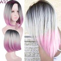 AILIADE Haar Perücke Hohe Temperatur faser 14 Zoll Kurze Gerade Perücken Für Frauen Synthetische darkroot Ombre Rosa Cosplay Perücken