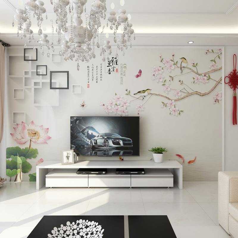 Chinese Style TV Backdrop Wallpaper Lotus Decoration Wallpaper Film And Television Wall Cloth 8D Modern Minimalist Living Room B