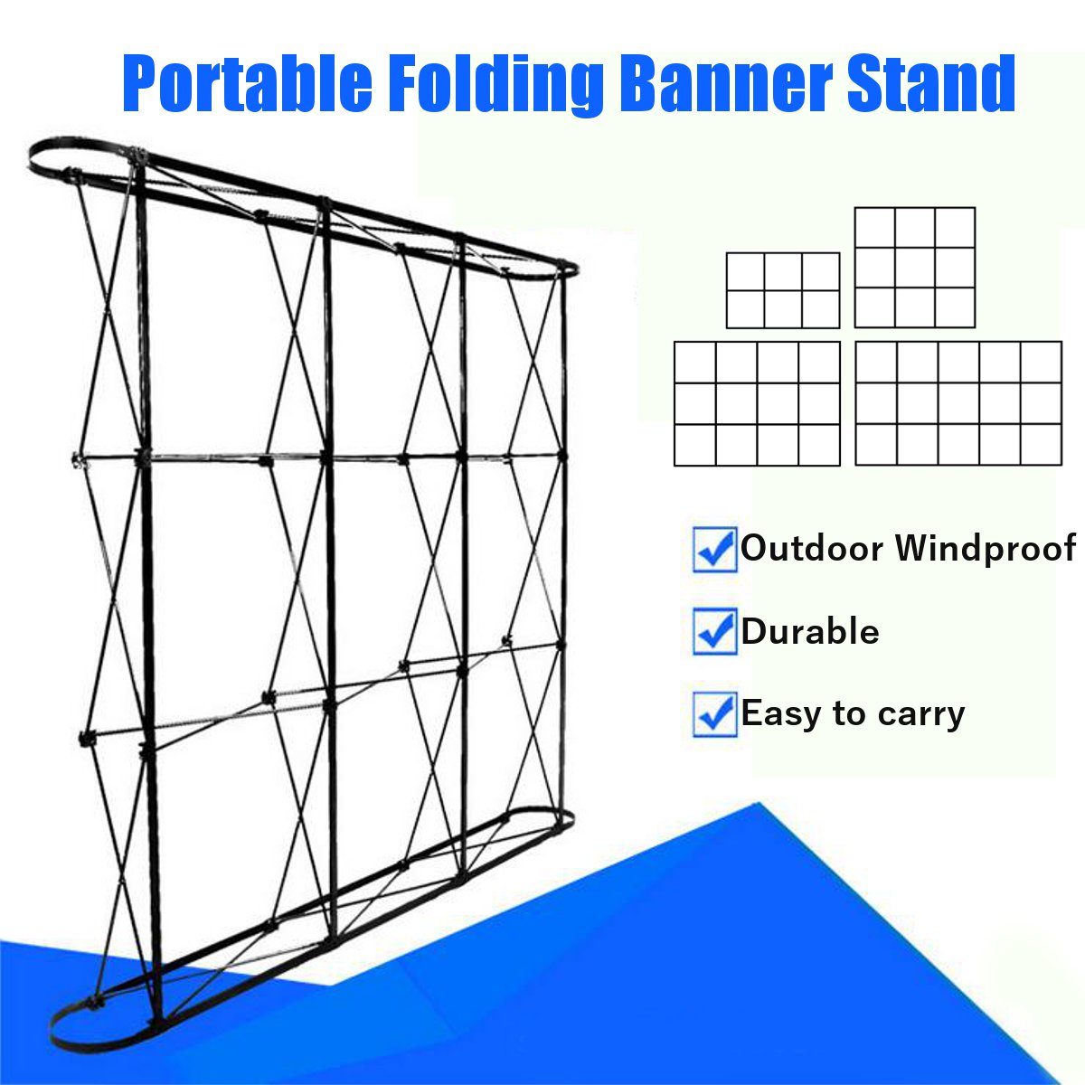 Portable Folding Banner Stand Wedding Party Wall Frame Backdrop Display Presentation Advertising Rack Stand Holder 4 Sizes
