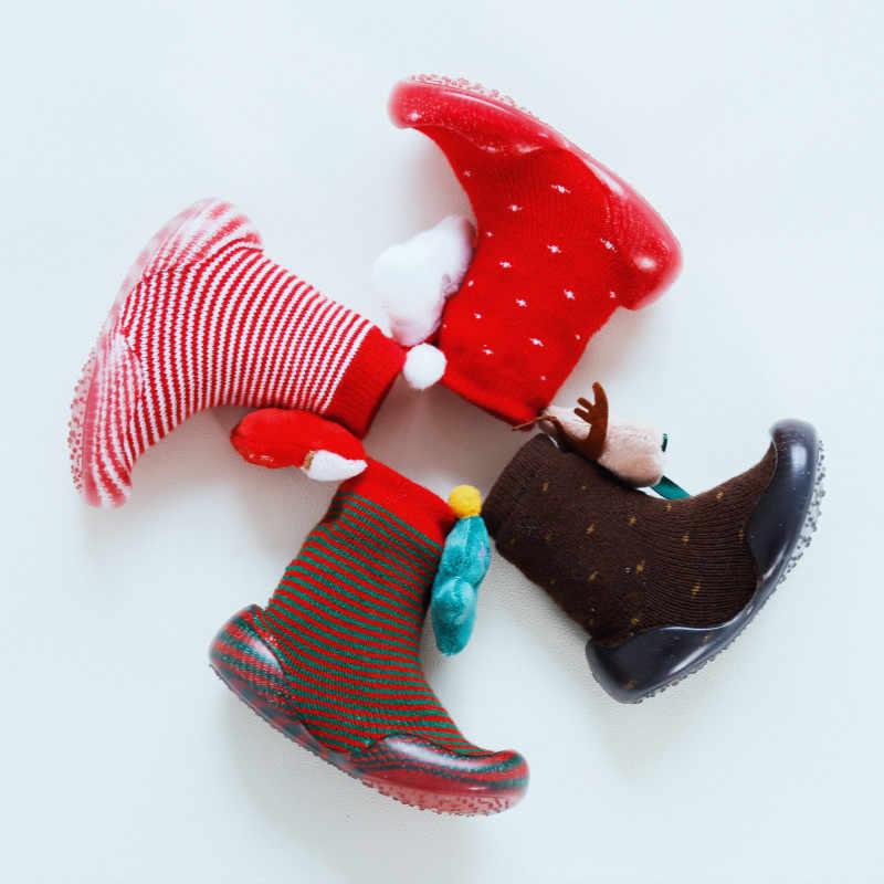 Yeni stil sonbahar ve kış noel zemin ayakkabı bebek Toddler kaymaz ayakkabı ilmekli kazık kalın Stereo sevimli bebek ayakkabısı çorap