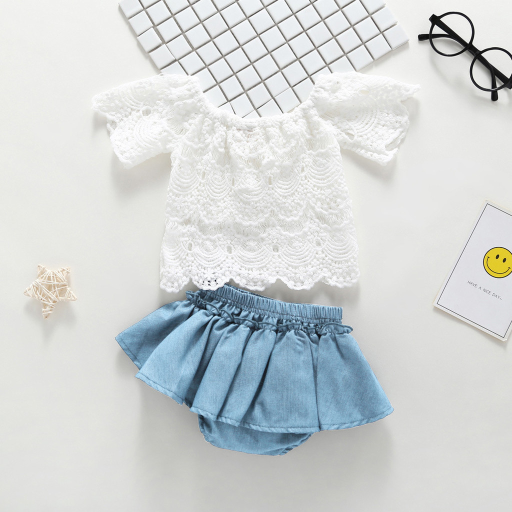 2019 Hot Summer Baby Girls Toddler Off Shoulder Lace Shortsleeve Tops Denim Shorts Dress Outfits Clothes Baby Girl ropa bebe