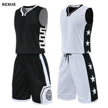 Double-sided Basketball Jersey Set Reversed Basketball uniform Men Printed Sports Suit Both Sides Training Shirt Shorts Custom