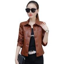 Jaqueta de couro feminino caramelo 3xl 4xl plus size curto fino casaco do plutônio 2019 nova primavera outono moda coreana chique moto roupas ld855